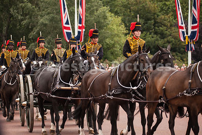 Members of the Kings Troop Riding to the Trooping of the Colour in 2016