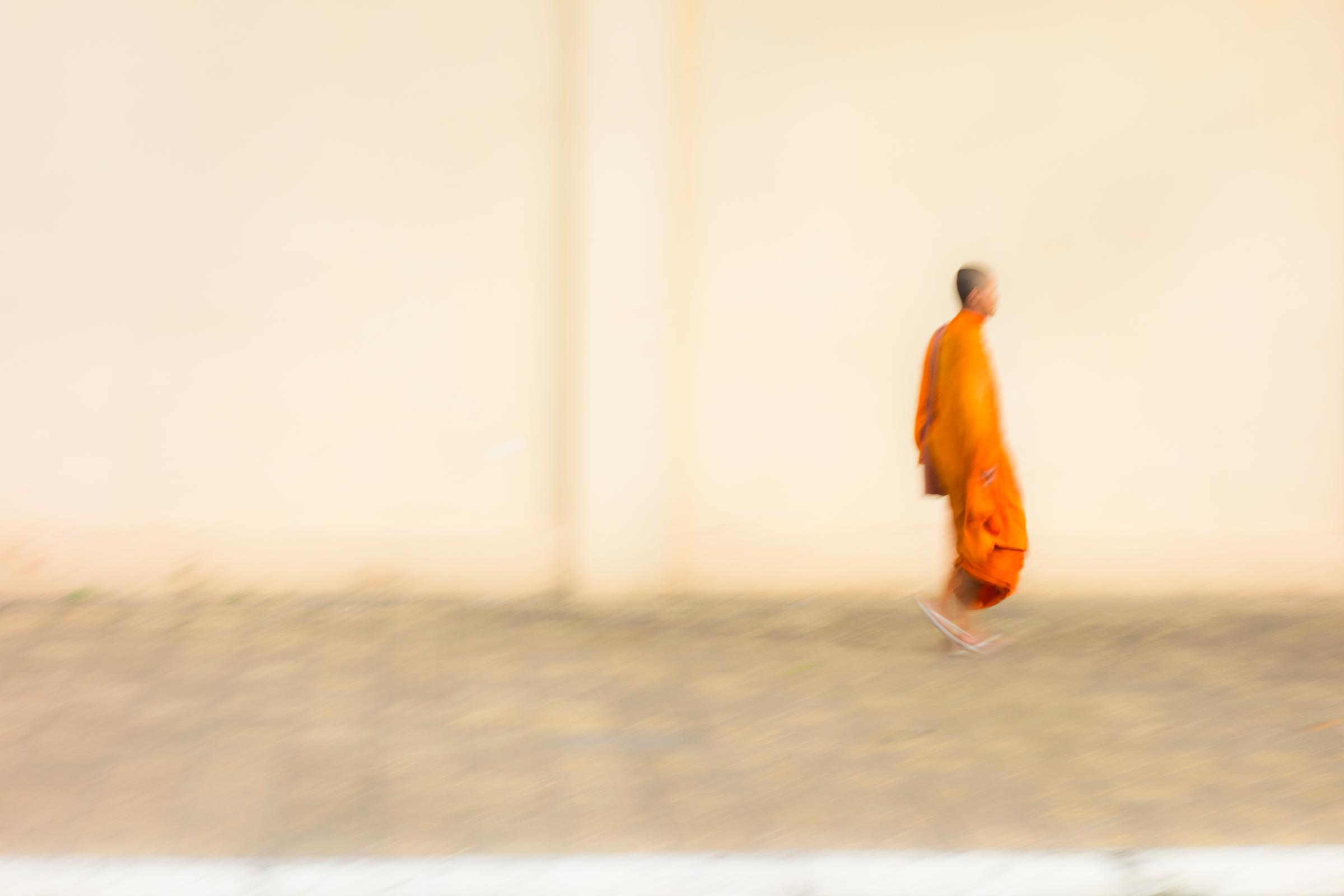 Floating Monk. Phnom Penh. Cambodia, South-East Asia.