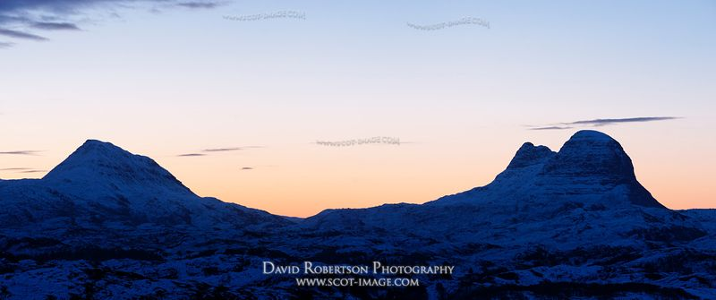 Image - Suilven and Canisp, near Lochinver, Sutherland, Sunrise silhouette