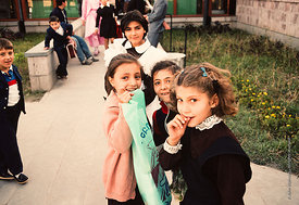 #4807,  Students at the end of the day, The Lord Byron School, Leninakan (now Gyumri), Armenia.  At 11.41am on the 7th Decemb...