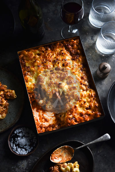 Macaroni Bolognese Bake in a baking tray