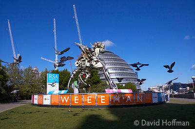 The 3 tonne, 7 metre high WEEE Man is made from the amount of waste electrical and electronic products that an average UK cit...