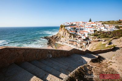 Stairway leading to fishing village on the coast of Portugal