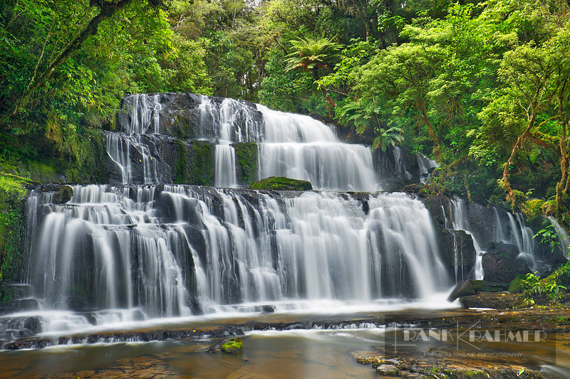 Waterfall  - Oceania, New Zealand, South Island, Otago, Clutha, Catlins, Owaka, Purakaunui Falls (Polynesia) - digital