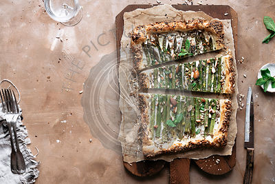 Horizontal photo of asparagus tart