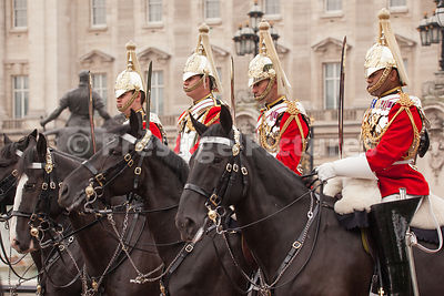 Line of Members of the Household Cavalry outside Buckingham Palace