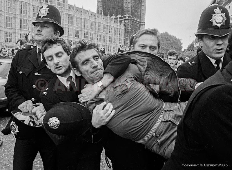 England, UK. 7.6.1984. London. NUM ( National Union of Mineworkers ) strike against pit closures. Miners fighting with police...