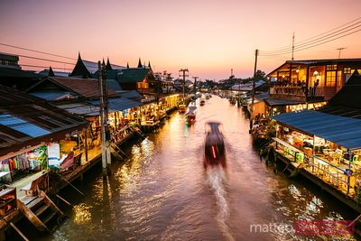 Twilight at Amphawa floating market, Bangkok, Thailand
