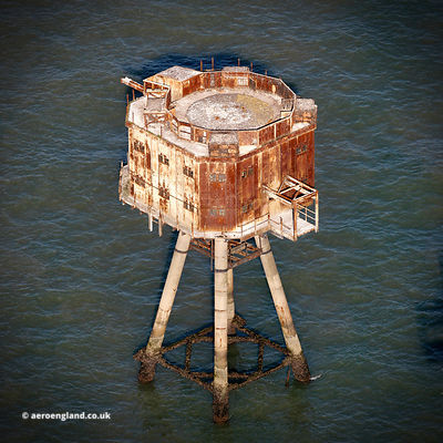 Shivering Sands Fort,  Maunsell Sea Fort aerial photograph