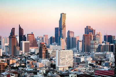 Bangkok Silom skyline at sunset, Thailand