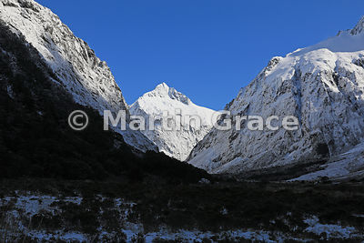Snow-covered Mount Talbot from Milford Highway (Milford Road, SH 94), Fiordland National Park, Southland, South Island, New Z...