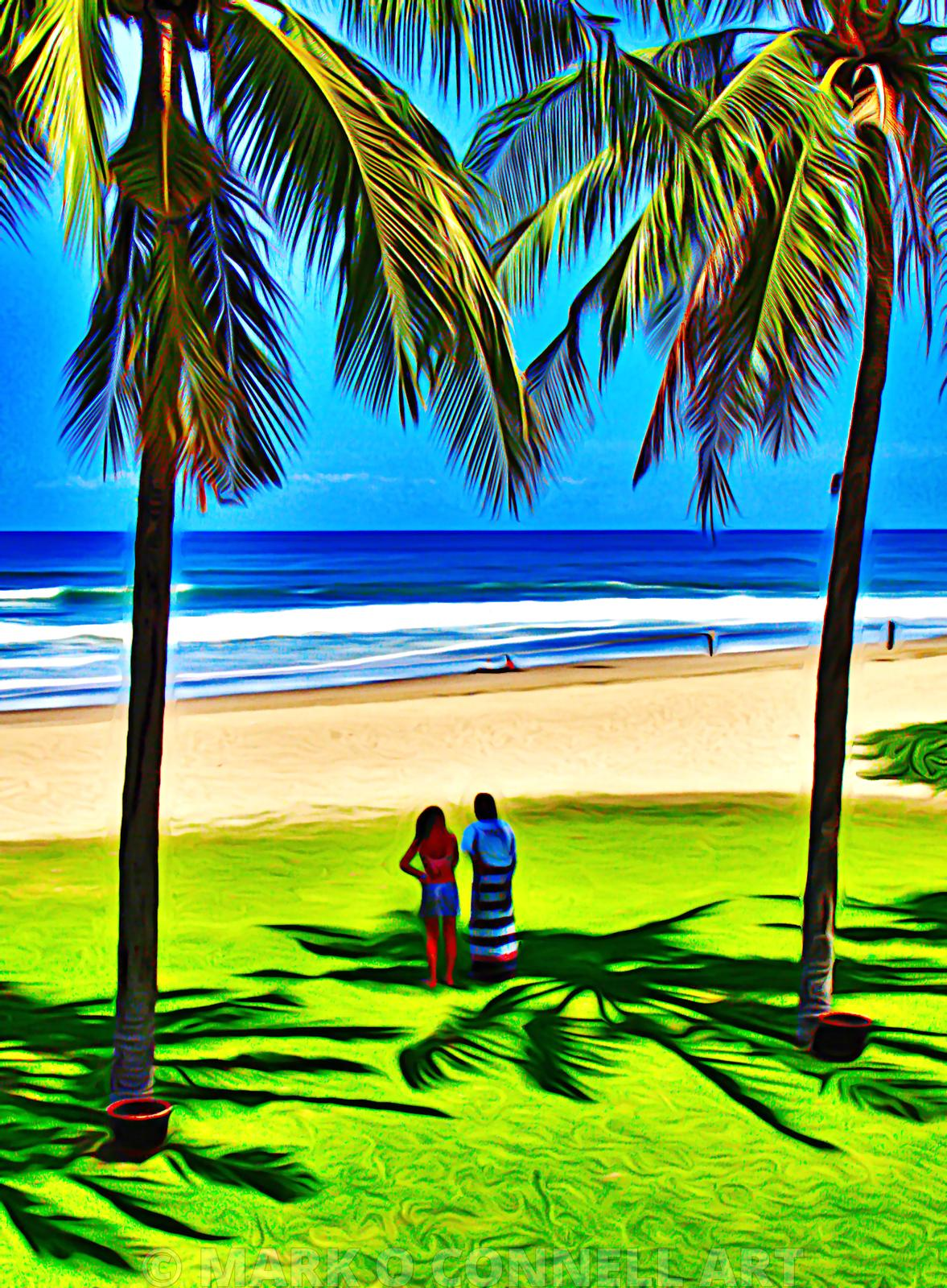 art,painting,airbrush,bali,indonesia,beach,palm trees,sea,waves,walkers,sand
