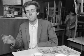 #74859,  Cornelius Cardew (1936-1981), avant-garde musician and composer, in his favourite cafe, Fitzrovia, London.  3rd July...