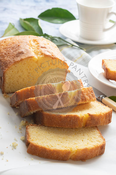 Slices of orange loaf cake for morning tea.