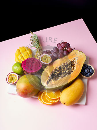Tropical fruits flat lay