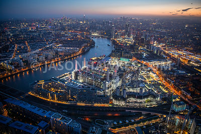 Dawn aerial view of Battersea Power Station, Battersea and Nine Elms, London.