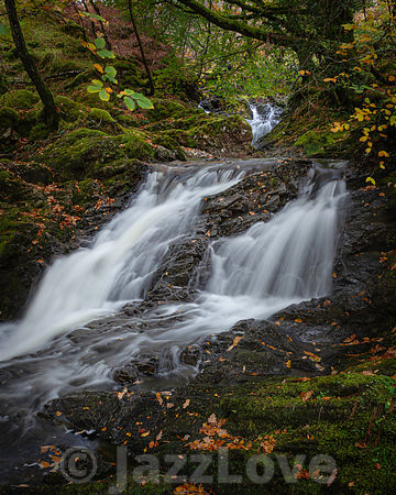 Tranquil autumn woodland scene with waterfall in Scottish highlands