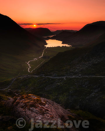 Sunset over Buttermere lake in Lake District, Cumbria, UK.