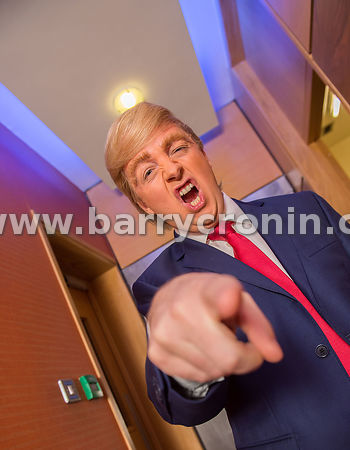 11th November, 2016.Comedian, writer and impressionist Oliver Callan doing his impersonation of President Donald J. Trump on ...