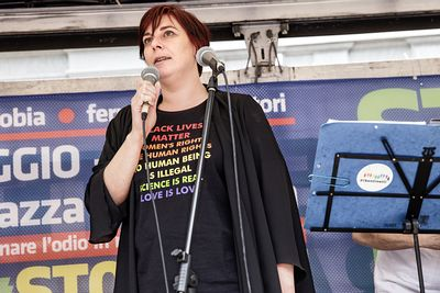 "Demonstration ""Stop Hate"" against homophobia and cyberbullying. Cecilia Strada, former president of the Italian NGO Emergency..."