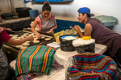 A young man chats to women making tortilla in a cafe