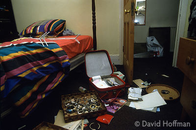 North London flat ransacked following a burglary.t permission.