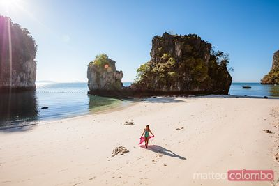 Woman with sarong at Hong island, Railay, Krabi province, Thailand