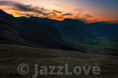 Sunset over scenic valley in Lake District ,Cumbria,Uk.