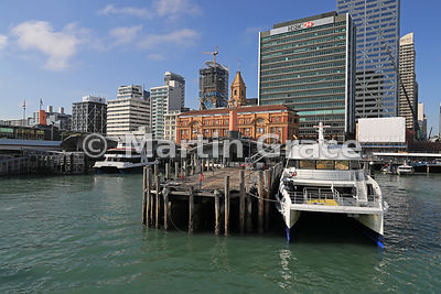 Tourist boats, Ferry Building (1912), Waitemata Harbour waterfront and Central Business District (CBD) from Waitemata Harbour...