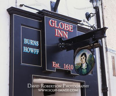 Image - The Globe Inn pub sign on the High Street of Dumfries, Scotland