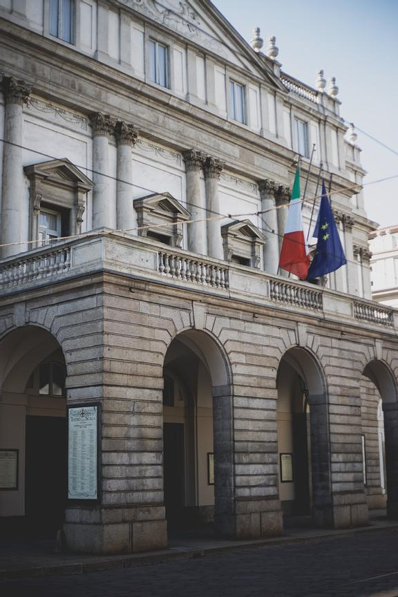 The façade of the Teatro alla Scala. Also La Scala had to close its doors during the lockdown, but it then opened briefly for...