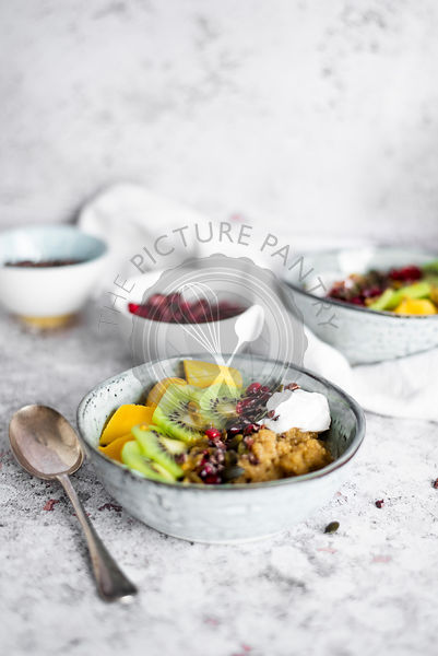 Tropical Quinoa, Yoghurt And Fruit Breakfast Bowl