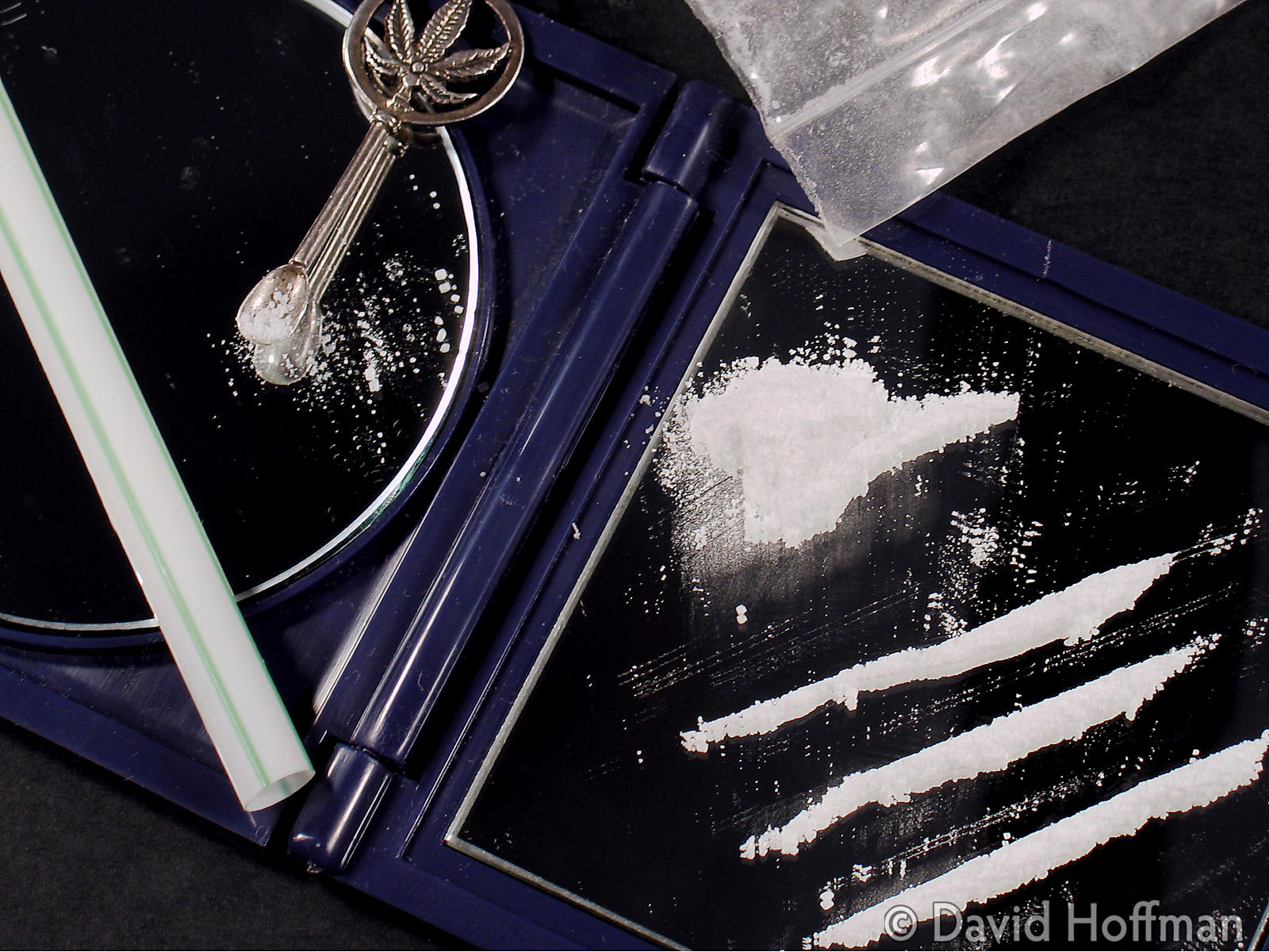 Lines of powdered cocaine ready for sniffing.