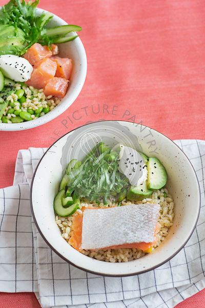 Bowl with salmon