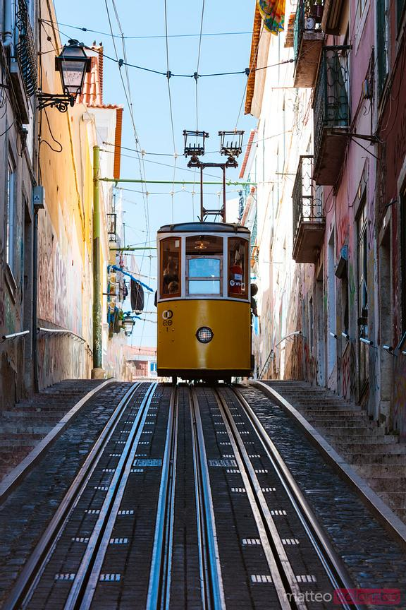 Yellow cable car, Lisbon, Portugal