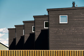 Pattern of wooden houses in a row