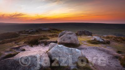 Sunrise on Higger Tor in Peak District.
