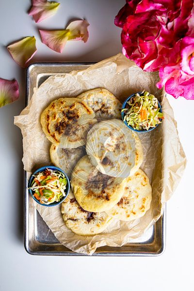 Pupusas with Cabbage and Vinegar Slaw