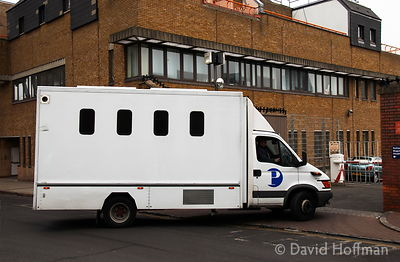 HOFFMAN_20021_prison van Van containing prisoners arrives at Thames Magistrates Court, Tower Hamlets, London.