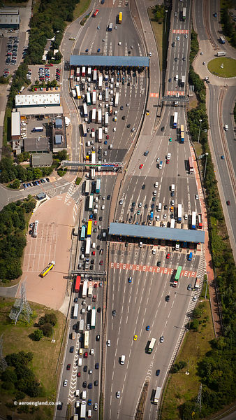 toll booths on the Dartford Crossing aerial photograph