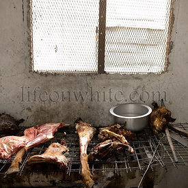 Kitchen in a restaurant, some meat is cooking, Africa, Tanzania