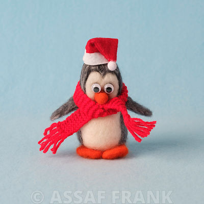 Penguin with santa hat
