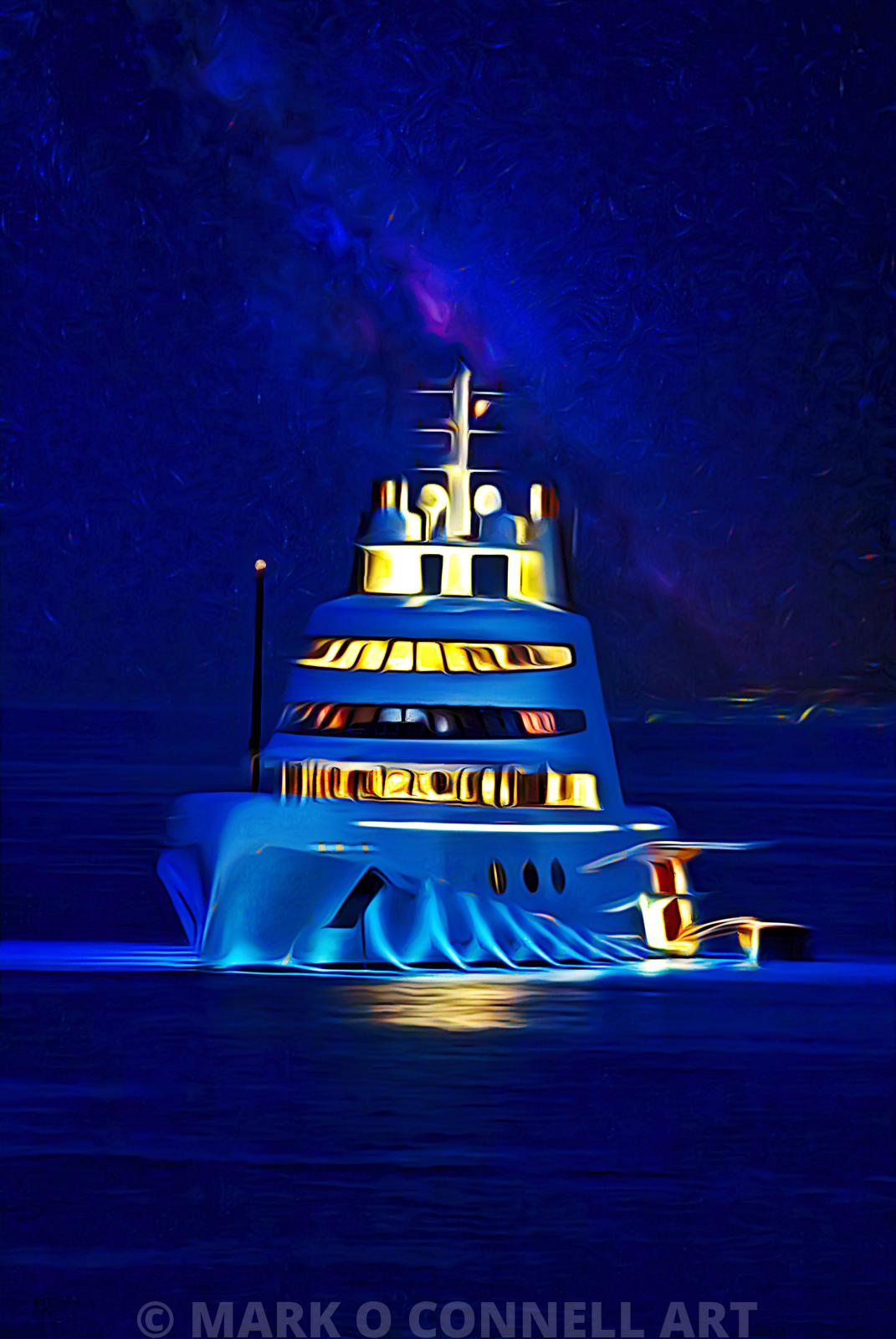 A,superyacht,lurssen,russian,underwater lights,painting,art,airbrush,abstract,stars,night sky,water,ocean,sea,at anchor,tender