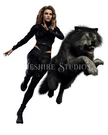 Urban Fantasy Woman with Wolf