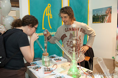 Cannabis smoking equipment at an exhibition