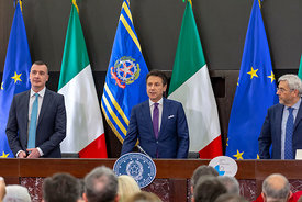 Italian Prime Minister Giuseppe Conte holds the annual end of year press conference with members of the Italian and internati...