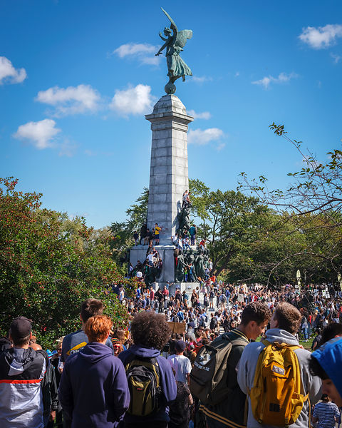 Climate Strike Day at the site of the George-Étienne Cartier Monument in Montreal - September, 27th 2019