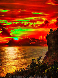 art,bali,indonesia,temple,painting,airbrush,abstract,sunset,water,ocean,sea,cliffs,red,yellow