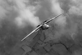 Spitfire PR XIX PS915 looping, B&W version