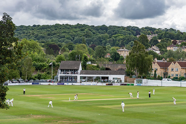 A quintessentially Englsih scene: a cricket match in progress at Bath Cricket Club in the historic city in Somerset, England.
